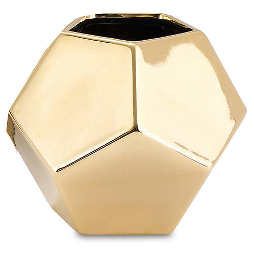 Faceted Decorative Vase, Gold