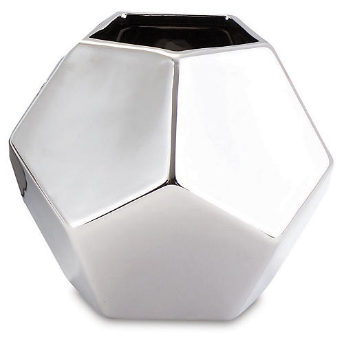 Faceted Decorative Vase, Silver