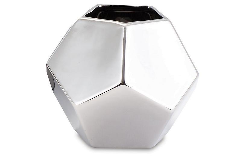 Faceted Decorative Vase, Silver