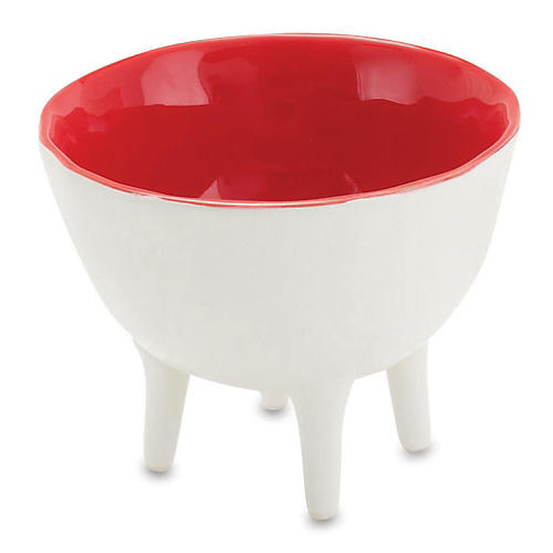 "4"" Bowl with Soul, White/Red"