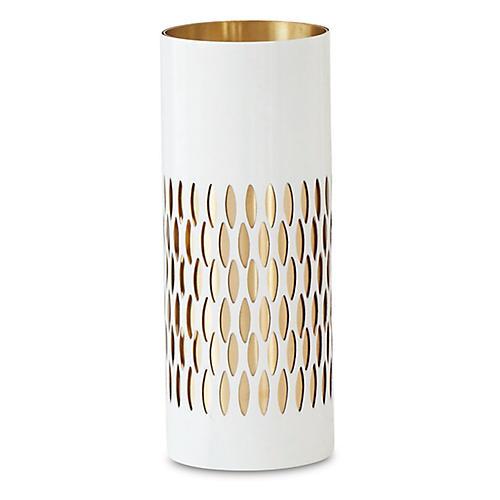 "10"" Bracelet Vase, White/Brass"