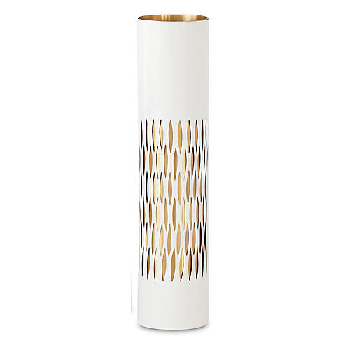 "13"" Bracelet Vase, White/Brass"