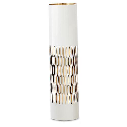 "16"" Bracelet Vase, White/Brass"