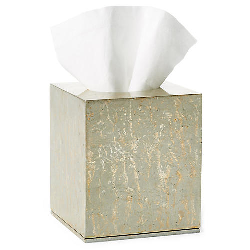 Champagne Tissue Box, Silver/Gold