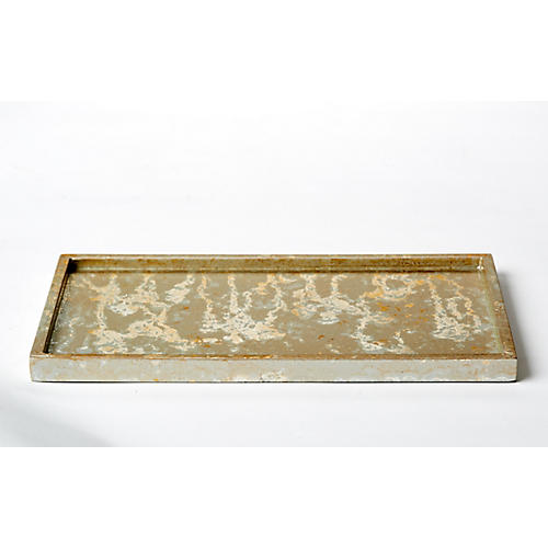 Champagne Rectangular Bath Tray, Silver/Gold