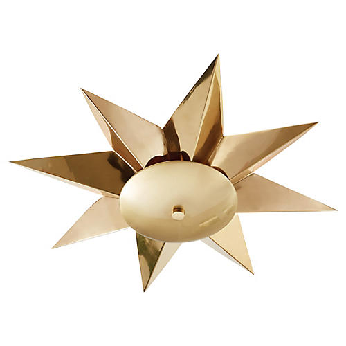 Klismos Semi-Flush Mount, Polished Brass