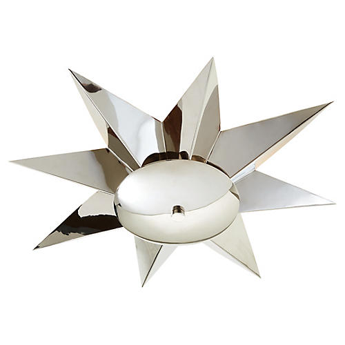 Klismos Semi-Flush Mount, Polished Nickel