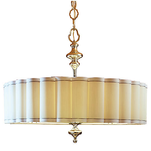 Fluted Large Pendant, Nickel/White