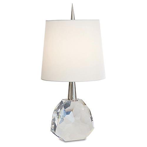 Gem Table Lamp, Clear/Nickel