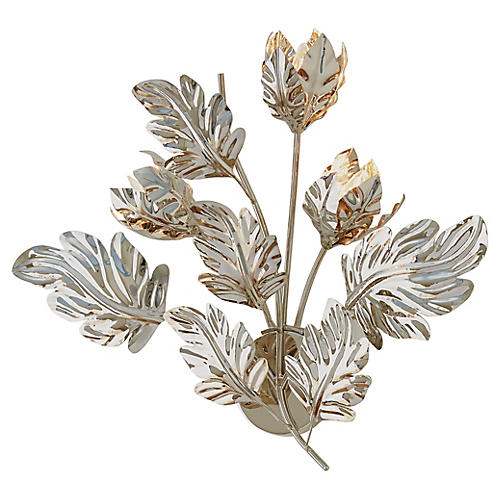Dancing Leaves Sconce, Polished Nickel