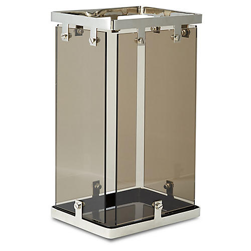 "17"" Halle Umbrella Stand, Smoke/Nickel"