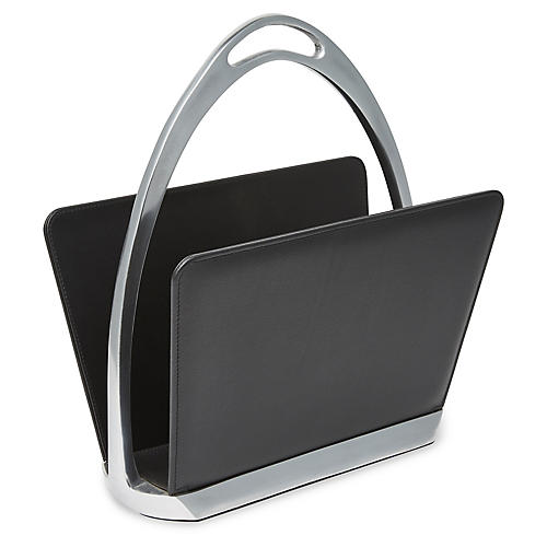 "19"" Shaniya Magazine Rack, Black/Nickel"