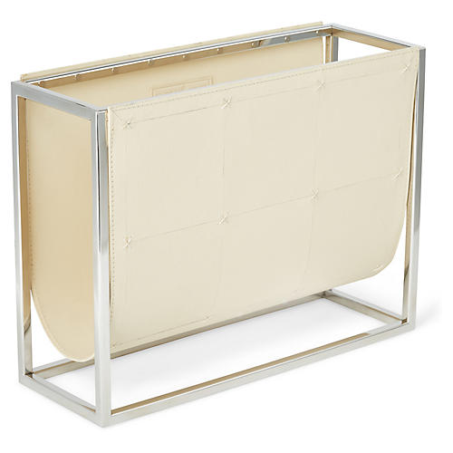 "17"" Eliana Magazine Rack, Ivory/Nickel"