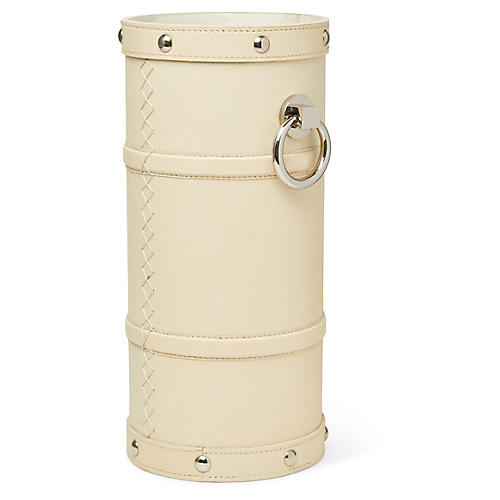 "20"" Adyson Umbrella Stand, Ivory/Nickel"