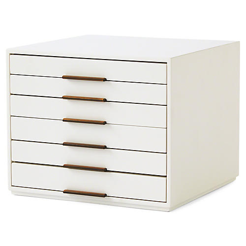 Sabrina Jewelry Box, White/Bronze