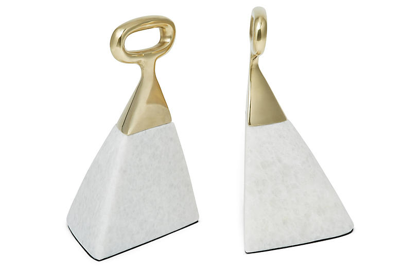 Set of 2 Jocelyn Marble Bookends - White/Brass - Global Views