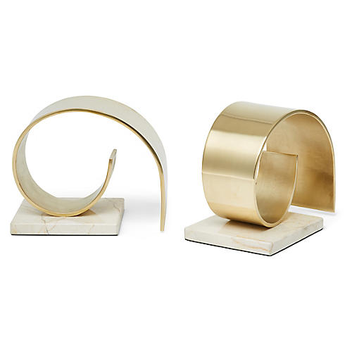 S/2 Jordin Bookends, Brass/White