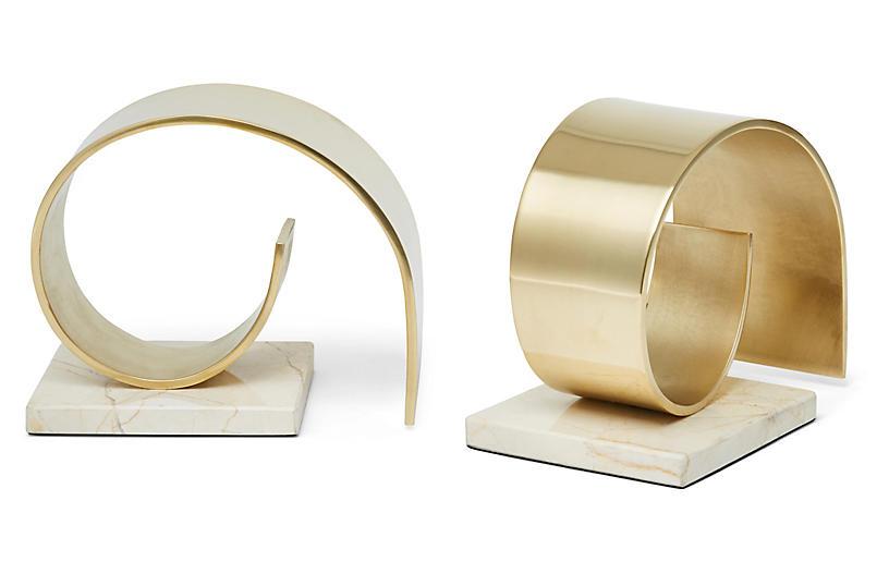 S/2 Jordin Bookends, Brass/White