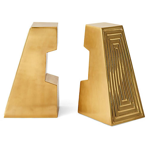 S/2 Siena Bookends, Satin Brass
