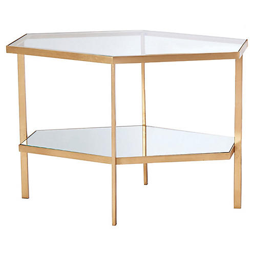 Hexagon Side Table, Gold