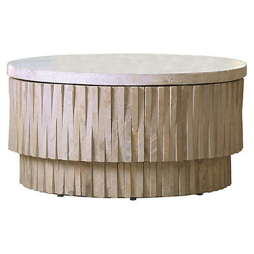Teeter Totter Stone Coffee Table, Beige