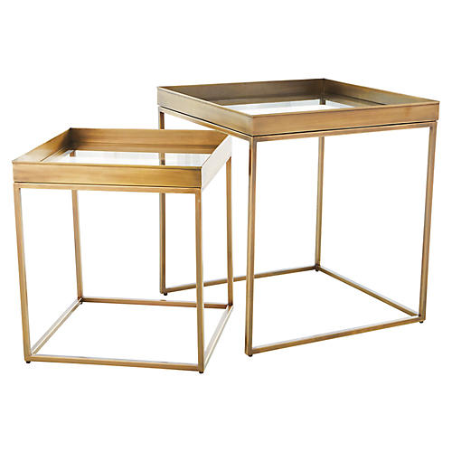 S/2 Perfect Nesting Tables, Antiqued Brass