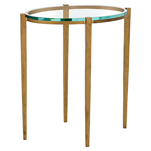 Petite Oval Side Table, Antiqued Brass