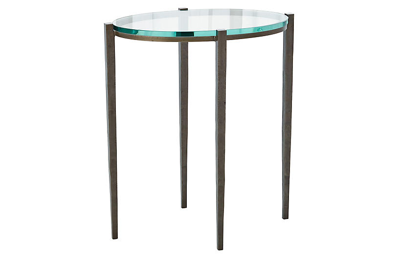 Pee Oval Side Table Natural Iron