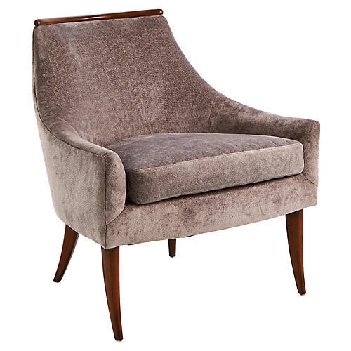 Boomerang Accent Chair, Slate Velvet