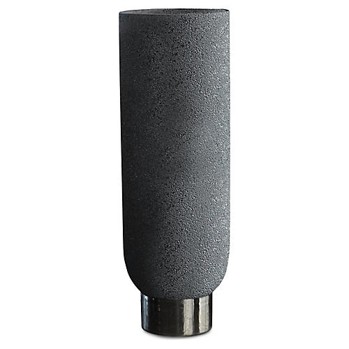 Banded Vase, Black/Silver
