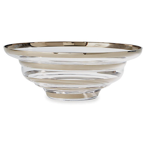 "22"" Saturn Decorative Bowl, Platinum"