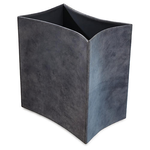 "13"" Folded Wastebasket, Washed Blue"