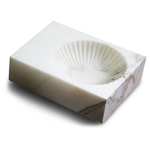 "10"" Plateau Marble Catchall, White"