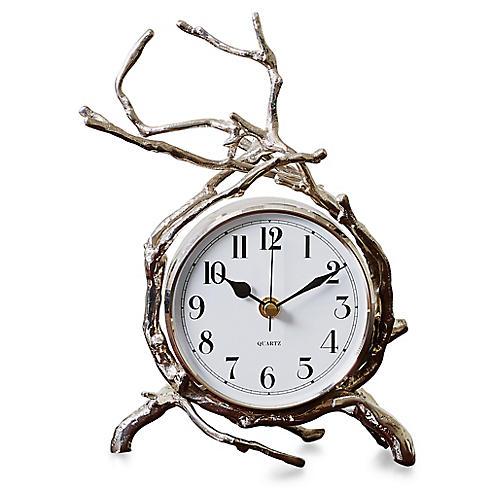 """10"""" Twig Clock, Nickel"""