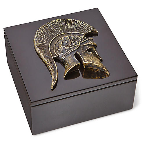 "7"" Greek Helmet Marble Box, Bronze"