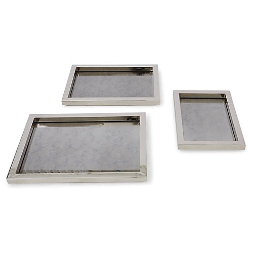 Asst. of 3 Stepped Nesting Trays, Nickel
