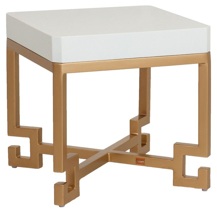 Cleo Greek Side Table, White/Gold