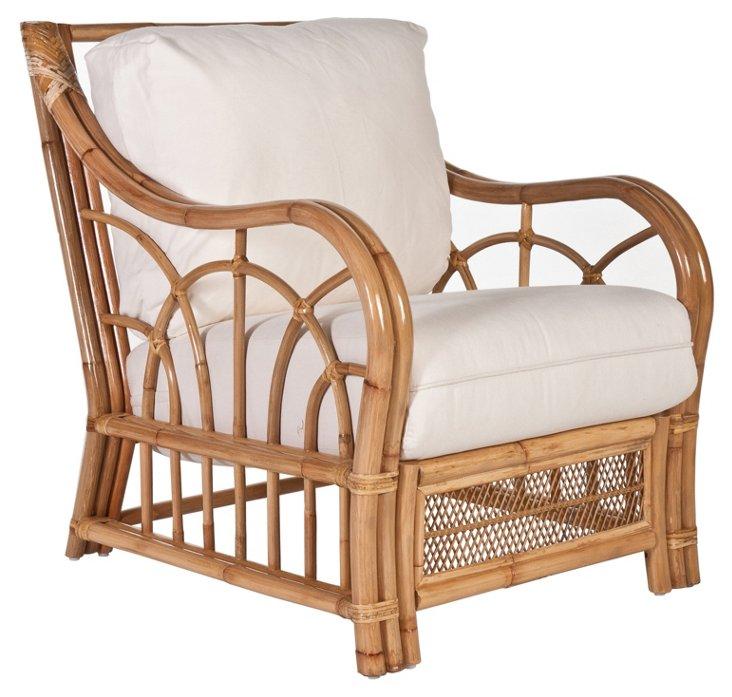 Charleston Accent Chair, White/Natural