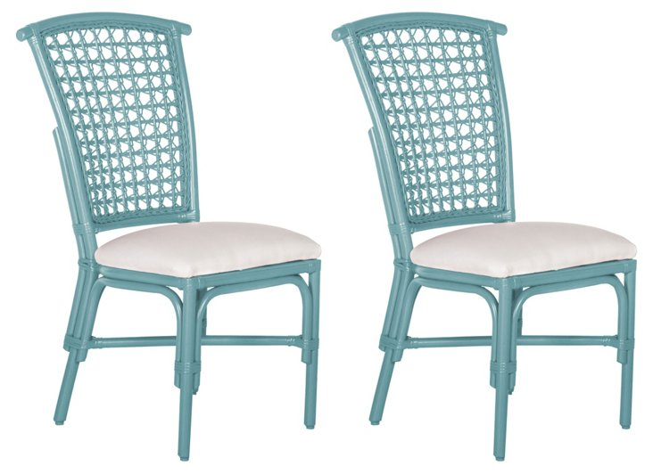 Light Blue Lilly Side Chairs, Pair
