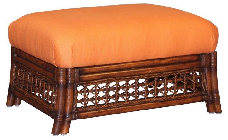 Harwich Ottoman, Orange/Mahogany