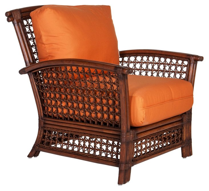 Joyce Lounge Chair, Orange/Mahogany