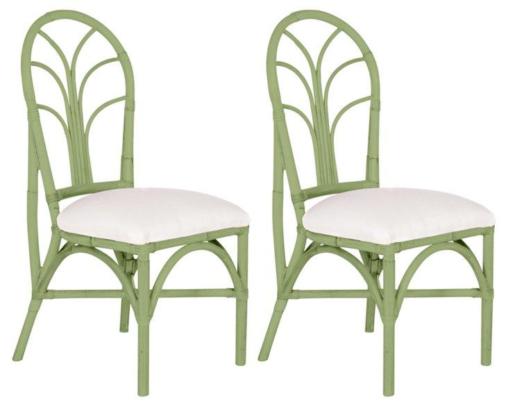 Green Bermuda Chairs, Pair