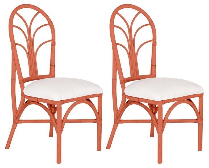 Coral Bermuda Chairs, Pair