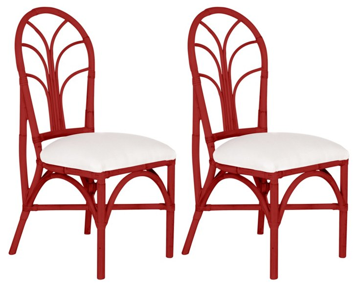 Red Bermuda Chairs, Pair