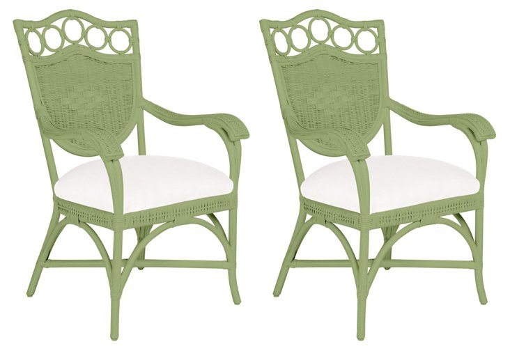 Green Lee Dining Armchairs, Pair