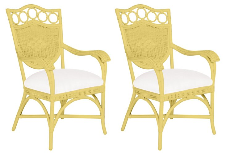 Yellow Lee Dining Armchairs, Pair