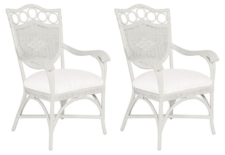 White Lee Dining Armchairs, Pair