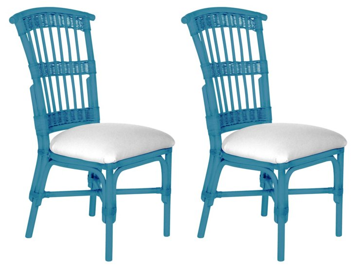 Blue Shore Side Chairs, Pair