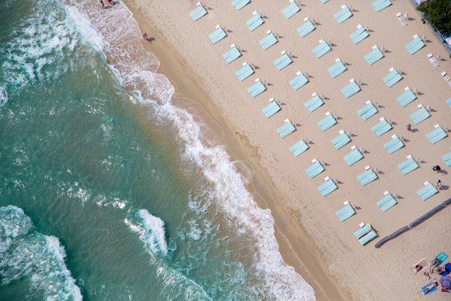 St Tropez Light Blue Umbrellas, Oversize