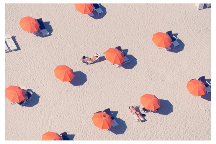 Gray Malin, Orange Umbrellas Beach